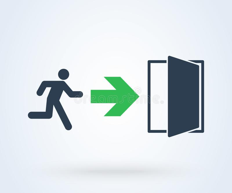 Vetor do sinal da saída de emergência porta do verde do símbolo da ilustração ilustração do vetor