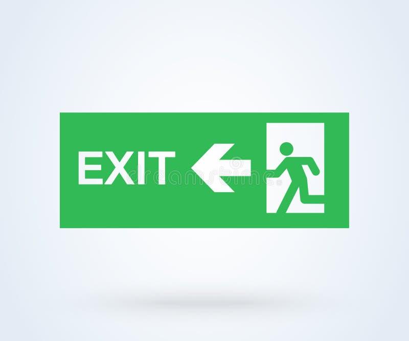 Vetor do sinal da saída de emergência porta do verde do símbolo da ilustração ilustração royalty free
