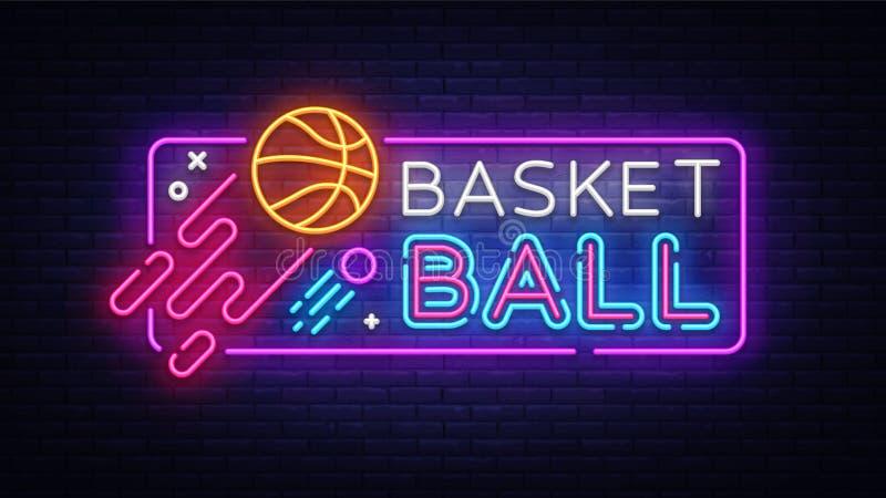 Vetor do sinal de néon do basquetebol Sinal de néon do molde do projeto do basquetebol, bandeira clara, quadro indicador de néon, ilustração royalty free