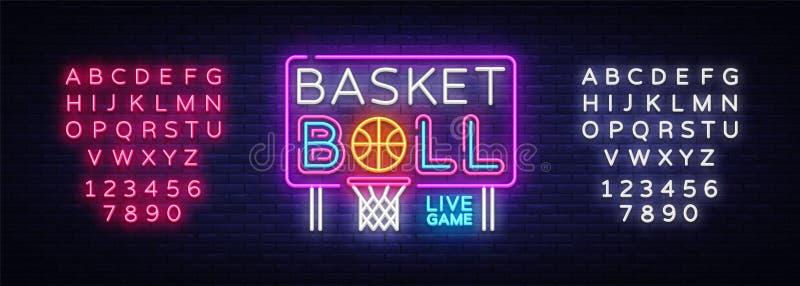 Vetor do sinal de néon do basquetebol Sinal de néon do molde do projeto do basquetebol, bandeira clara, quadro indicador de néon, ilustração stock