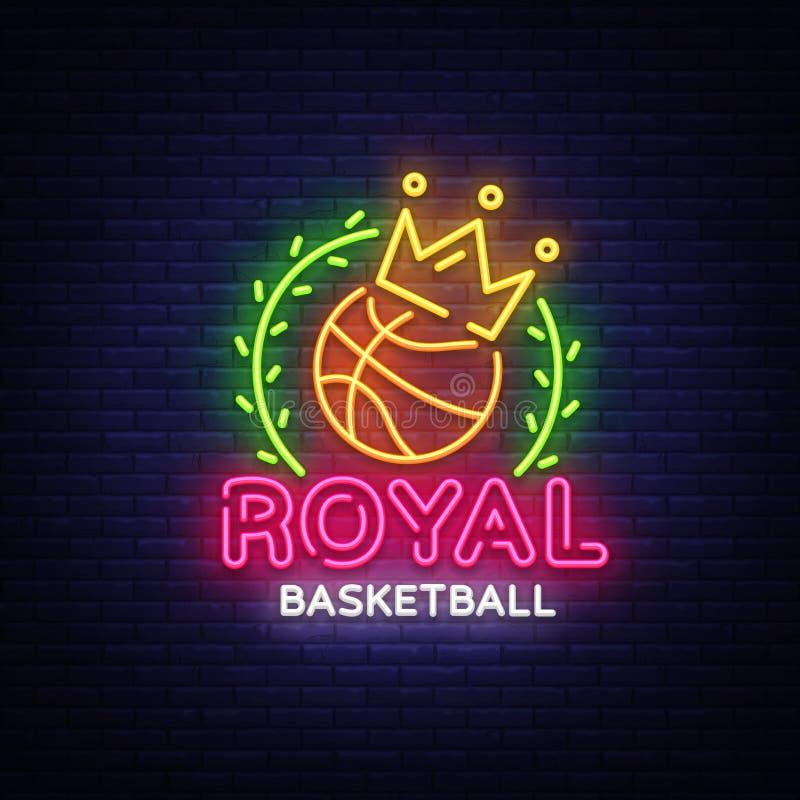 Vetor do sinal de néon do basquetebol Sinal de néon do molde real do projeto do basquetebol, bandeira clara, quadro indicador de  ilustração royalty free