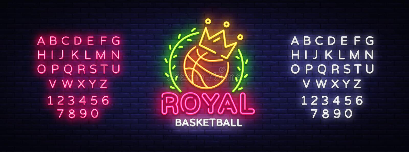Vetor do sinal de néon do basquetebol Sinal de néon do molde real do projeto do basquetebol, bandeira clara, quadro indicador de  ilustração do vetor
