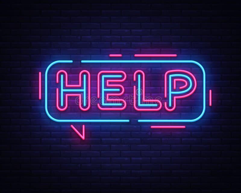 Vetor do sinal de néon da ajuda Quadro indicador de néon do molde do projeto da ajuda, bandeira clara, quadro indicador de néon,  ilustração royalty free