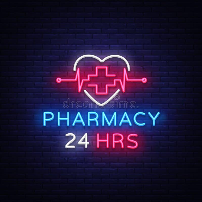 Vetor do sinal de néon da farmácia A farmácia 24 horas projeta o sinal de néon do molde, bandeira clara, quadro indicador de néon ilustração do vetor