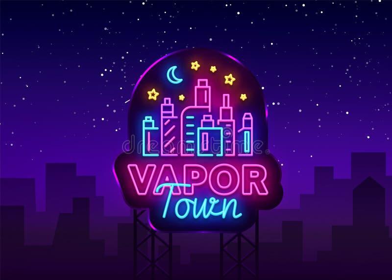 Vetor do sinal de néon da loja de Vape Loja Logo Emblem Neon de Vaping, sua cidade do vapor do conceito da loja de Vape, fumo de  ilustração do vetor