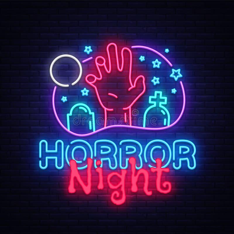 Vetor do sinal de néon da noite do horror Sinal de néon do molde do projeto do cartaz de Dia das Bruxas, bandeira clara do horror ilustração stock