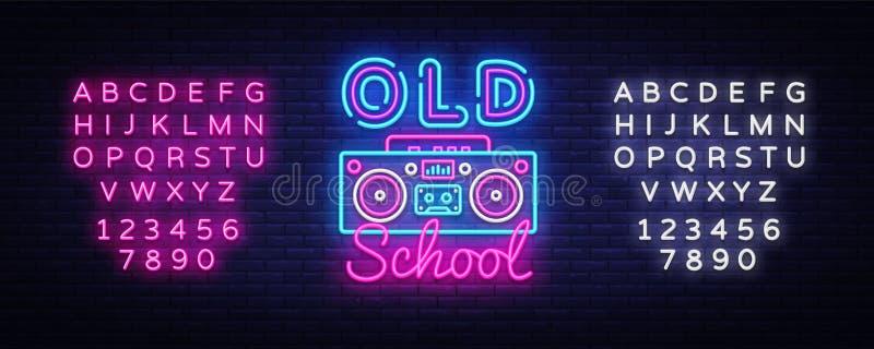 Vetor do sinal de néon da velha escola Sinal de néon do molde retro do projeto da música, estilo retro 80-90s, bandeira clara da  ilustração stock