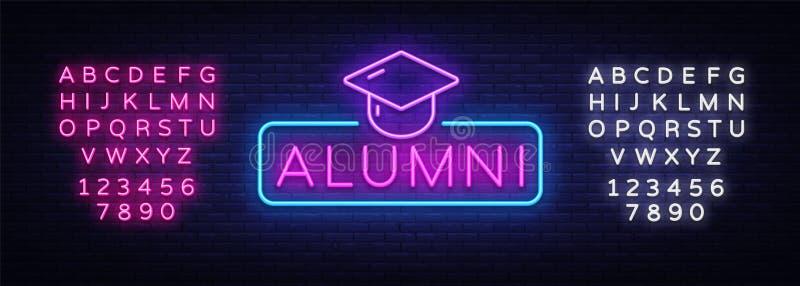 Vetor do sinal de néon dos alunos Símbolo de néon da graduação, molde do projeto, projeto moderno da tendência, quadro indicador  ilustração royalty free