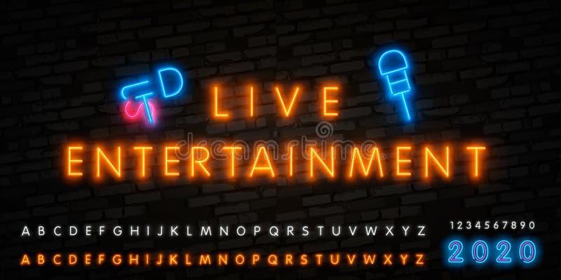 Vetor do sinal de n?on do entretenimento ao vivo, cartaz, emblema para o festival de m?sica ao vivo, barras da m?sica, karaoke, c ilustração stock
