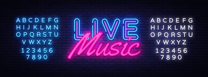 Vetor do sinal de néon de Live Music Sinal de néon do molde do projeto de Live Music, bandeira clara, quadro indicador de néon, b ilustração do vetor
