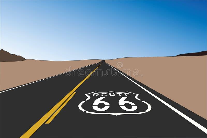Vetor do sinal do pavimento de Route 66 ilustração do vetor