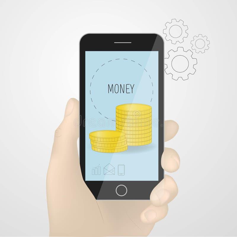 Vetor do smartphone da terra arrendada da mão, ilustração disponivel do telefone celular preto moedas de ouro na tela Conceito ilustração stock