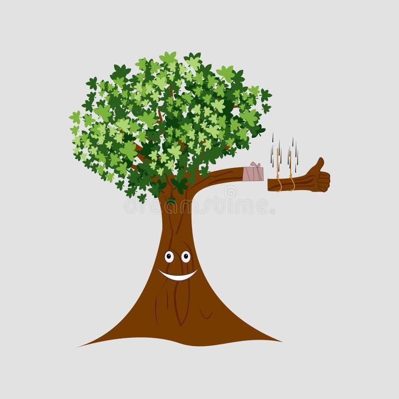 Vetor do sorriso da árvore do corte ilustração stock