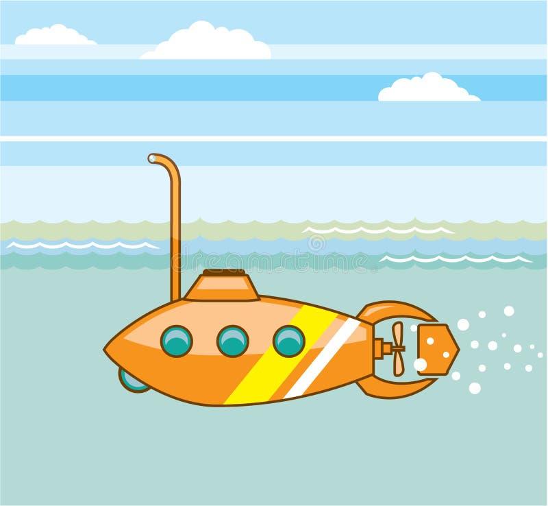 Vetor do submarino dos desenhos animados ilustração royalty free