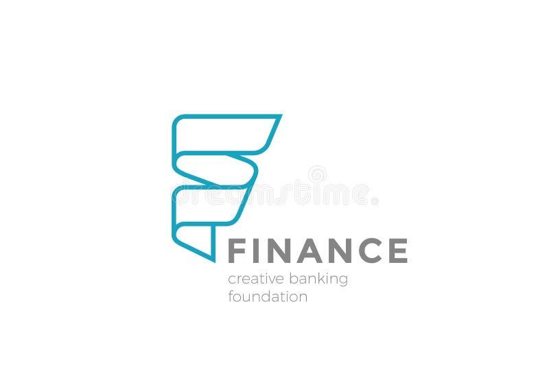 Vetor do sumário do projeto da fita do logotipo da letra F linear ilustração royalty free