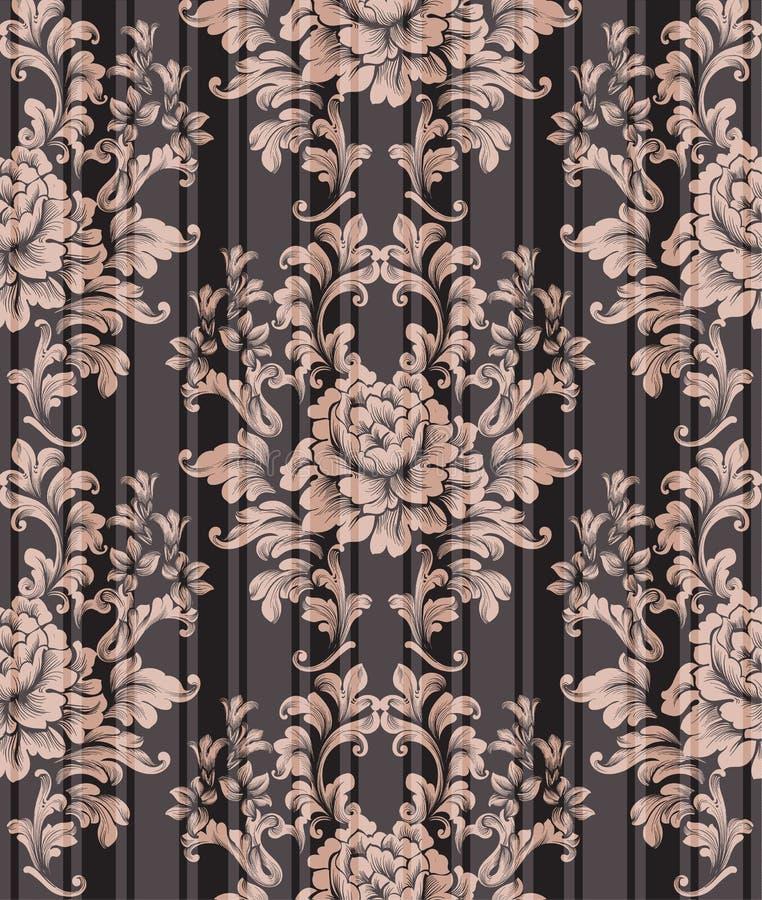 Vetor do teste padrão do ornamento do vintage Fundo clássico barroco Textura vitoriano real Projetos pintados velhos da decoração ilustração royalty free