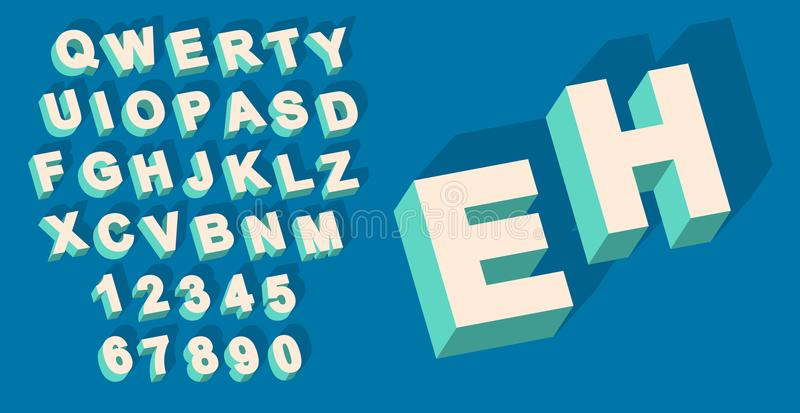 Vetor do tipo alfabeto do vintage com efeito do threedimentional 3d ilustração stock