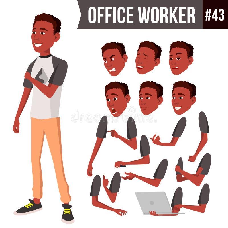 Vetor do trabalhador de escritório Emoções da cara, africano, preto Vários gestos Grupo da criação da animação Pessoa do negócio  ilustração stock