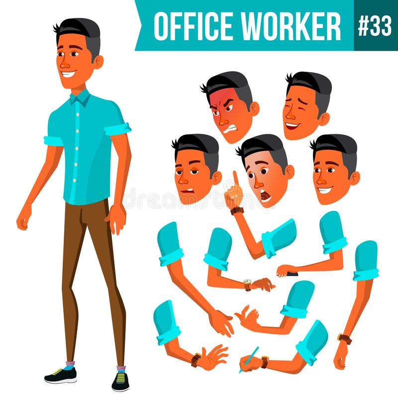 Vetor do trabalhador de escritório Emoções da cara, vários gestos animation Homem de negócios Human Empregado moderno do armário, ilustração do vetor