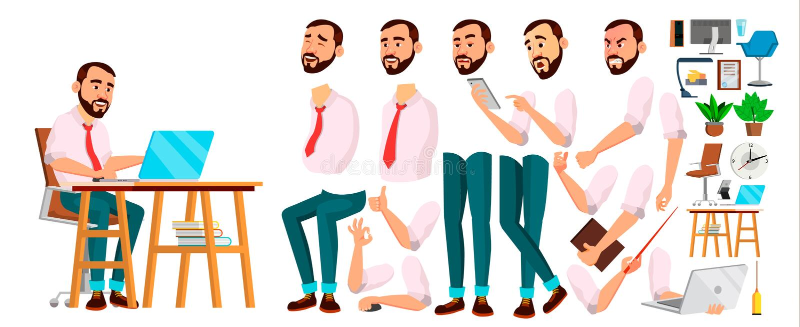 Vetor do trabalhador de escritório Emoções da cara, vários gestos Grupo da criação da animação Homem de negócios Person Executivo ilustração royalty free
