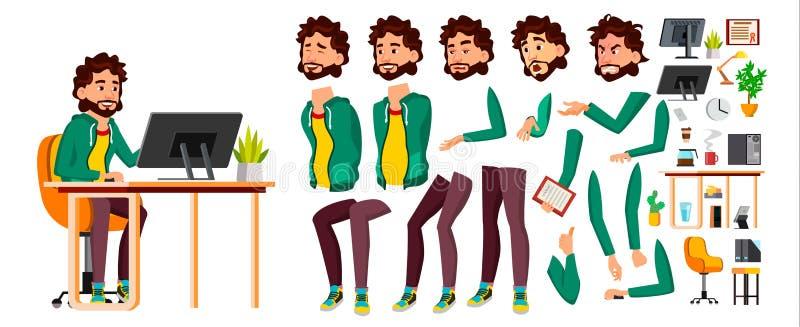 Vetor do trabalhador de escritório Emoções da cara, vários gestos Grupo da criação da animação Pessoa do negócio carreira Emprega ilustração royalty free