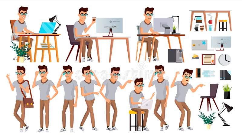 Vetor do trabalhador de escritório Emoções da cara, vários gestos Ser humano do negócio E liso ilustração royalty free