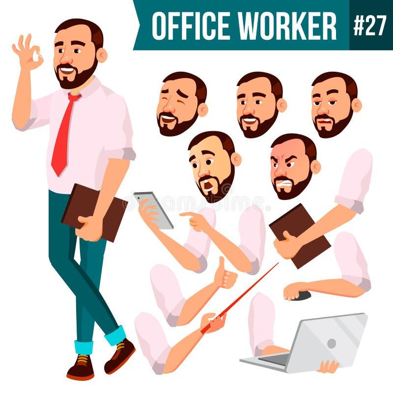 Vetor do trabalhador de escritório Emoções da cara, vários gestos Ser humano do negócio E liso ilustração stock