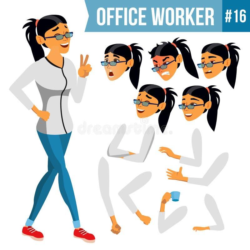 Vetor do trabalhador de escritório Mulher Empregado moderno, trabalhador Trabalhador do negócio Emoções da cara, vários gestos an ilustração do vetor