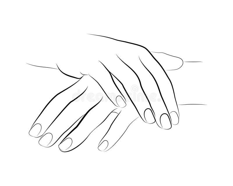 vetor do tratamento de mãos do linework de 2 mãos ilustração do vetor