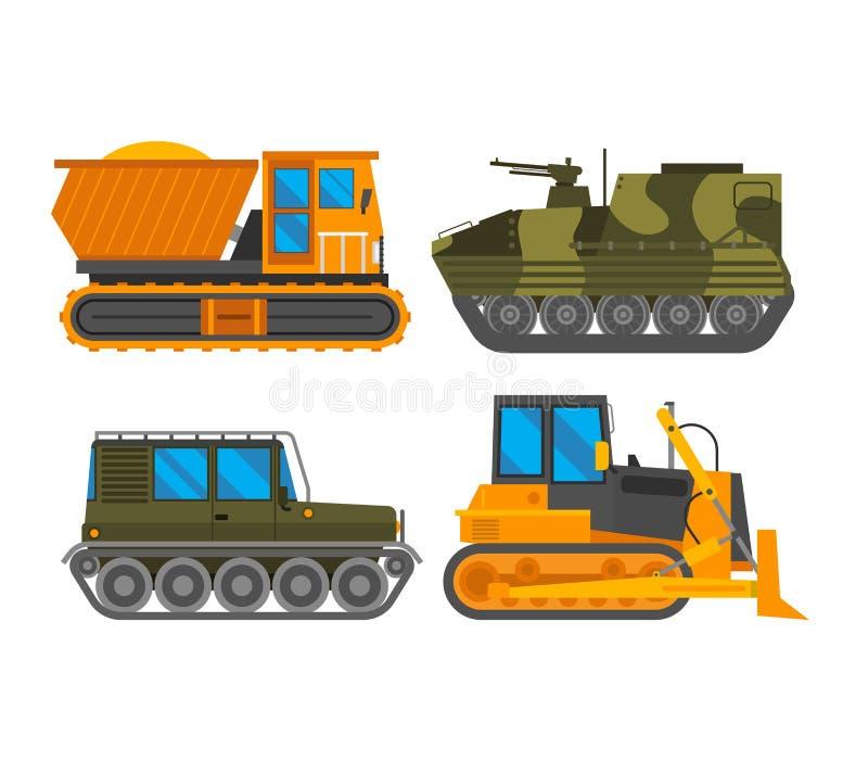 Vetor do trator do veículo de Caterpillar ilustração stock