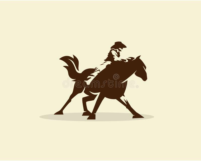 Vetor do vaqueiro que monta o cavalo selvagem ilustração do vetor
