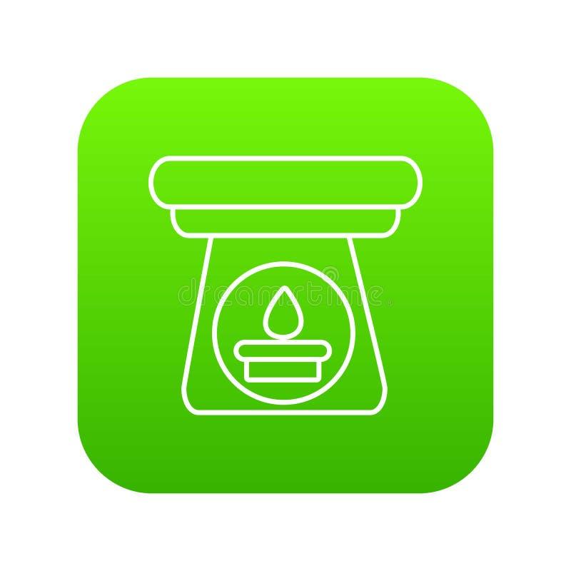 Vetor do verde do ícone da garrafa do aroma dos termas ilustração do vetor