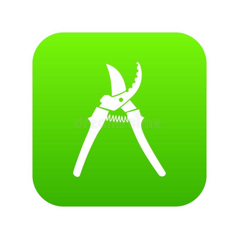 Vetor do verde do ícone da tesoura de podar manual ilustração royalty free