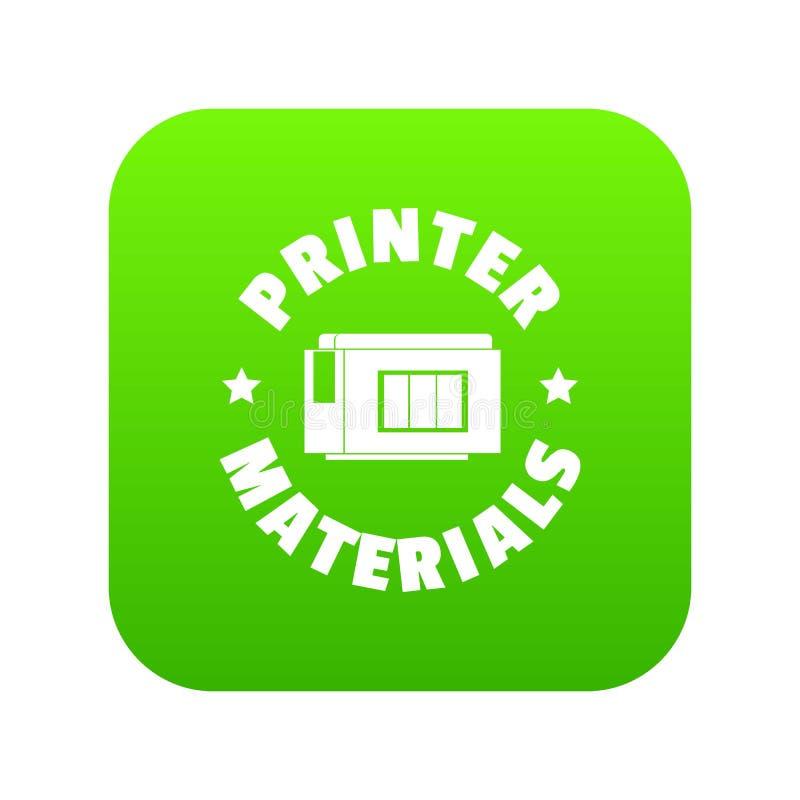 Vetor do verde do ícone dos materiais da impressora ilustração do vetor