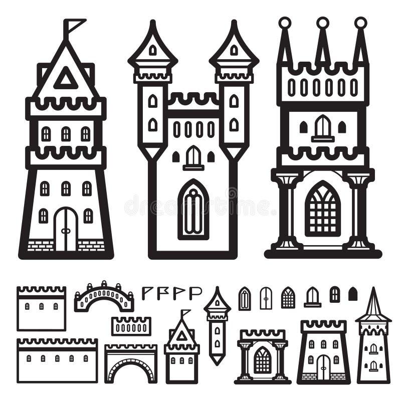 Vetor do vintage do castelo imagens de stock