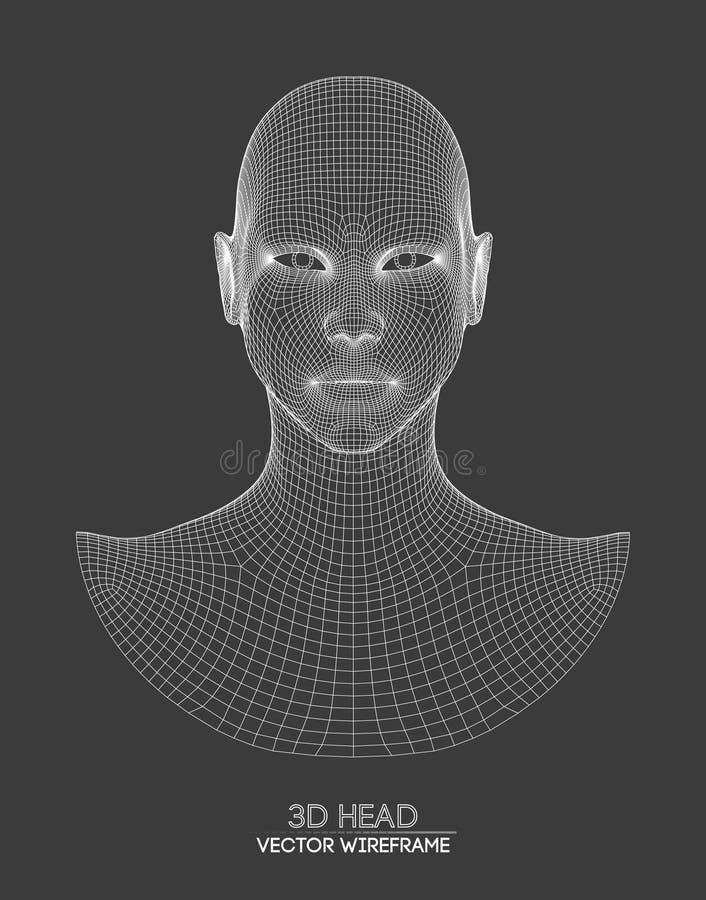 vetor do wireframe da cabeça 3d Desenho do modelo da cabeça 3d do wireframe Ilustração do vetor ilustração stock