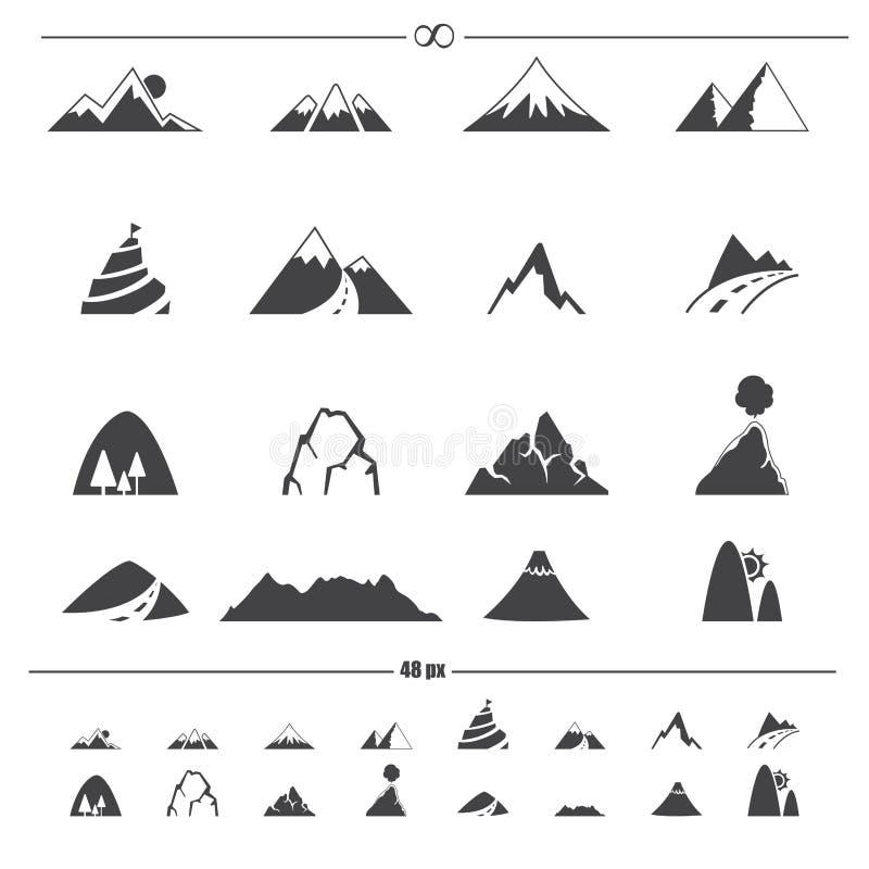 Vetor dos ícones da montanha ilustração stock