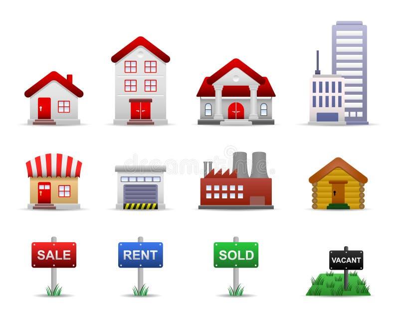Vetor dos ícones da propriedade dos bens imobiliários ilustração stock