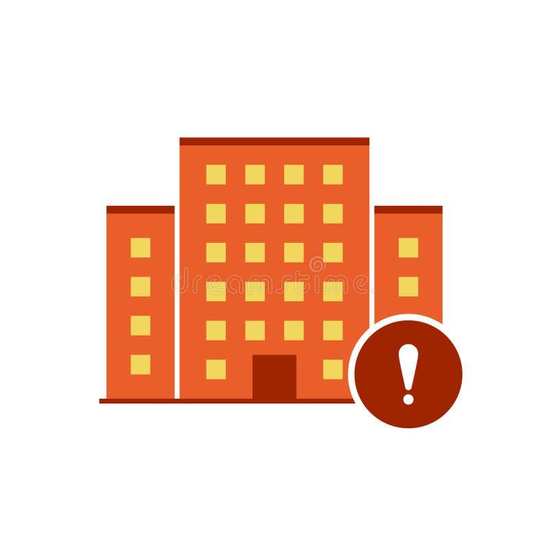Vetor dos ícones das construções com marca de exclamação Ícone da propriedade e alerta urbanos, erro, alarme, símbolo do perigo ilustração royalty free