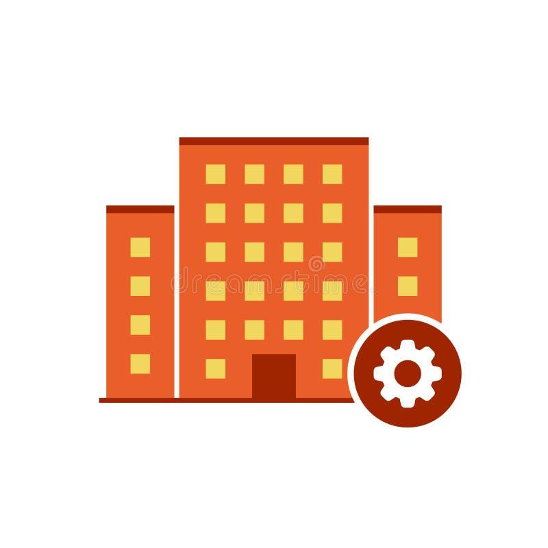 Vetor dos ícones das construções com sinal dos ajustes O ícone urbano da propriedade e personaliza, setup, controla, processa o s ilustração stock