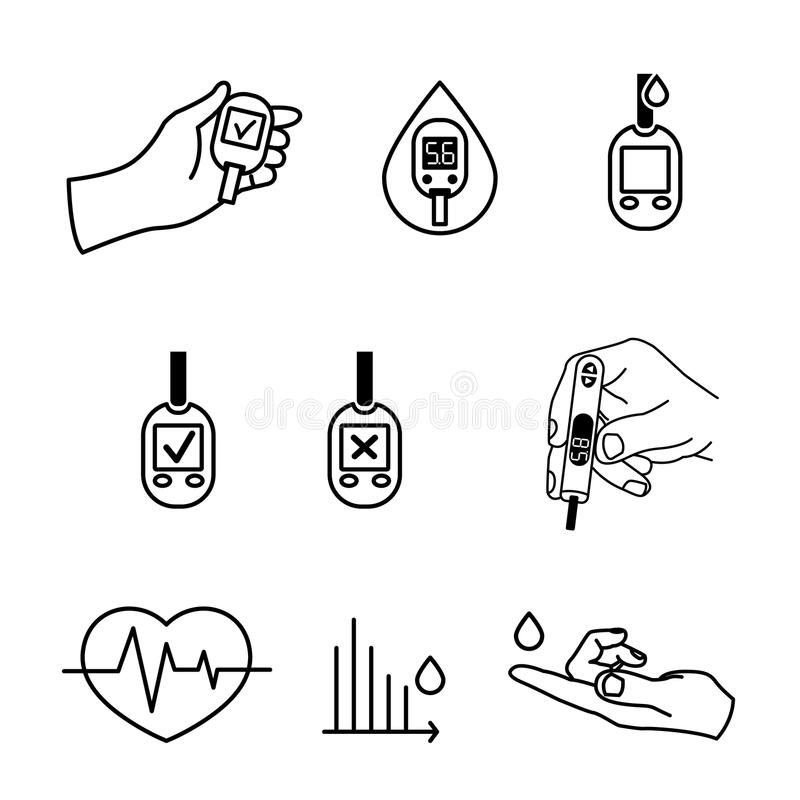 Vetor dos ícones do diabetes ilustração stock