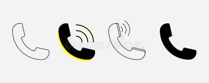 Vetor dos ícones do mensageiro e da chamada do sinal do telefone da variação no estilo liso na moda isolado no fundo branco para  ilustração royalty free