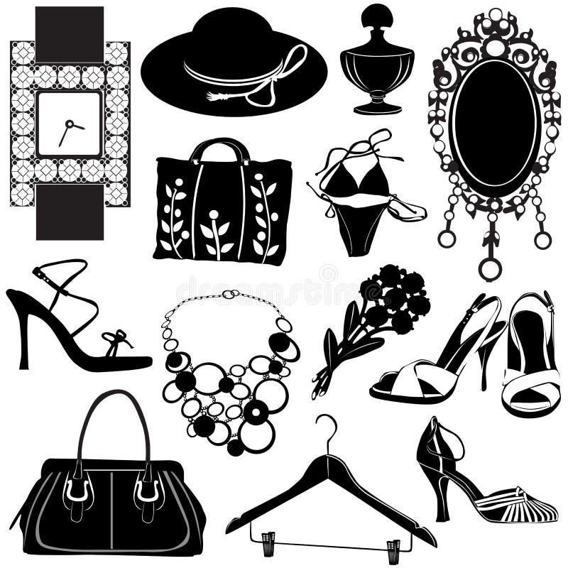 Vetor dos acessórios das mulheres ilustração royalty free