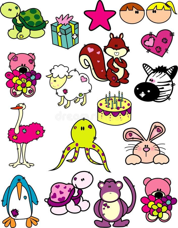 Vetor dos animais dos desenhos animados fotografia de stock