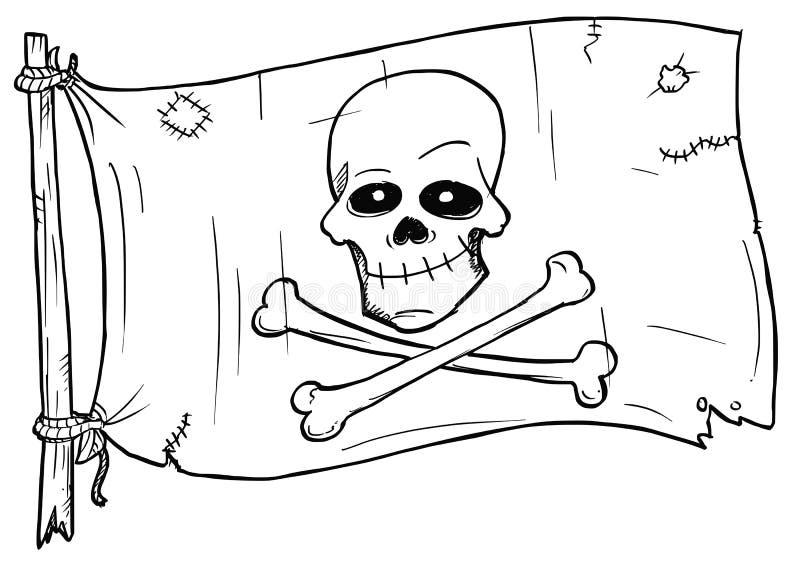 Vetor dos desenhos animados da bandeira de pirata com crânio e ossos ilustração royalty free