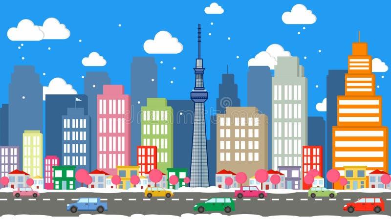 Vetor dos desenhos animados da cidade do Tóquio - skyline do Tóquio foto de stock