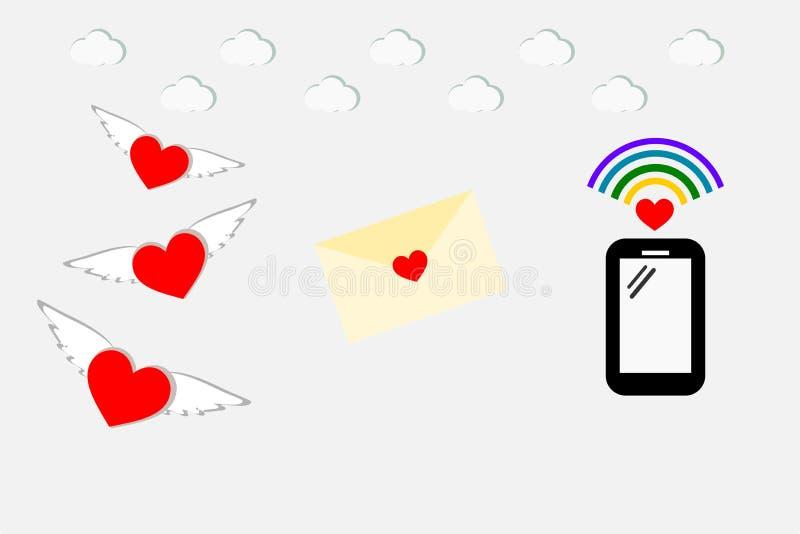 Vetor dos desenhos animados da ilustração da maneira de uma comunicação do sentimento do amor Coração com tecnologia da asa, da c ilustração royalty free