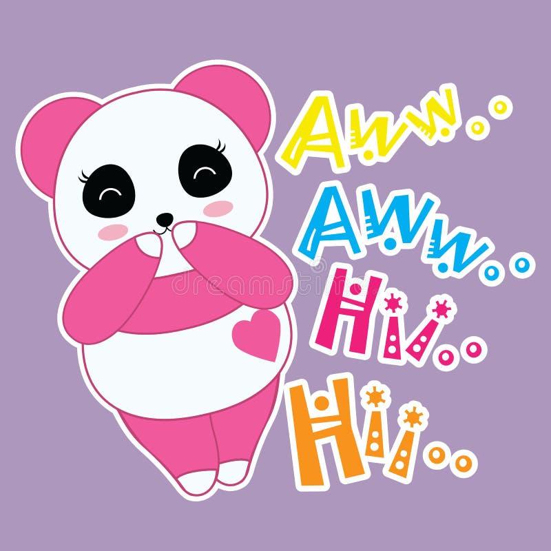 Vetor dos desenhos animados de sorrisos e de riso da panda ilustração royalty free
