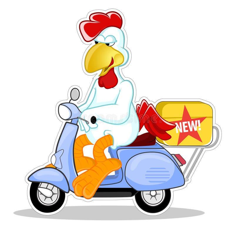 Vetor dos desenhos animados do caráter do serviço de entrega do 'trotinette' da equitação da galinha ilustração stock