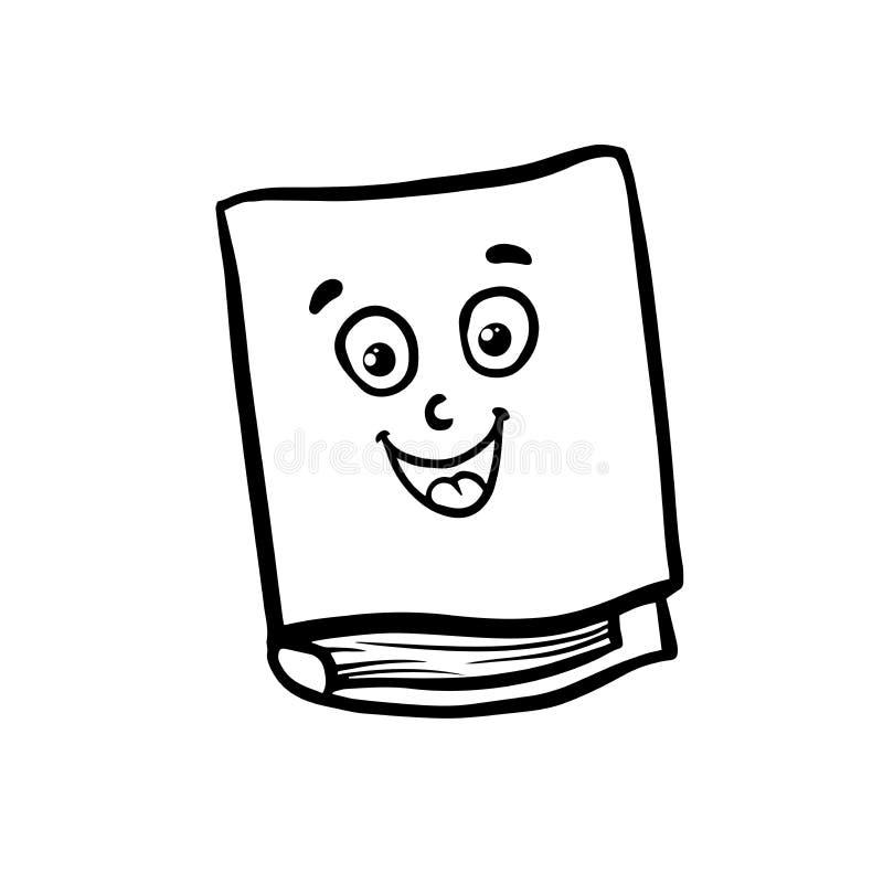Vetor dos desenhos animados do livro do sorriso e ilustração, estilo tirado mão, isolado no fundo branco ilustração do vetor